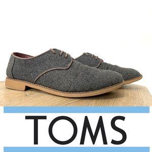 TOMS | Brogue Grey Wool Oxford Flats | Size 10